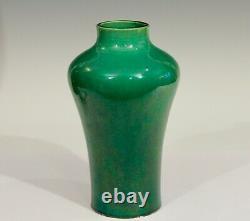 Antique Awaji Pottery Meiping Organic Green Monochrome Art Nouveau Studio Vase