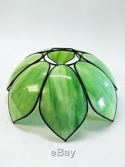 Antique Bent Slag Glass 8 Panel Lamp Shade Green Floral Garden 17 Art Nouveau