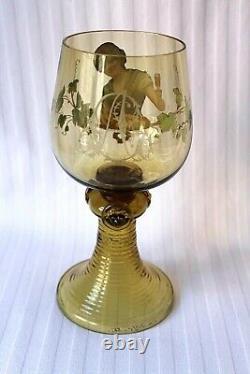 Antique Bohemian Fritz Heckert large Art Glass enamel roemer c 1880, signed