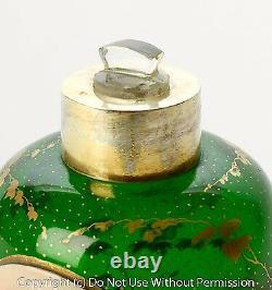 Antique Bohemian Glass Perfume Bottle Silver Mount & Hand Painted Portrait