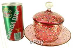 Antique Bohemian Moser Cranberry Glass 3 Pc Condiment Jar LID Under-plate Enamel
