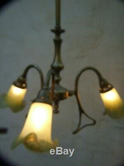 Antique Brass Art Nouveau Style 3 Arm Ceiling Light Green Lily Glass Shades