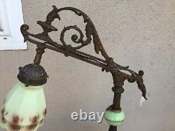 Antique Bridge Arm Lamp Green Slag Glass Base Green Custard Art Glass Shade