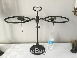 Antique Bronze Handel Tiffany Era Student Library Desk Lamp Art Nouveau 27 wide