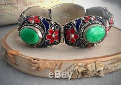 Antique Chinese Non Export Mottled Green Jade and Enamel Silver Bracelet