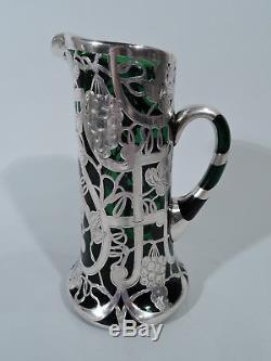 Antique Claret Jug Art Nouveau Decanter Emerald Green Glass & Silver Overlay