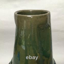 Antique Clement Massier Golfe Juan Iridescent Green- French Art Pottery Vase