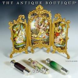 Antique DAUM Cameo Glass French Sterling Silver Liquor Flask Pill Snuff Box