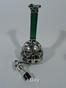 Antique Decanter Art Nouveau American Emerald Green Glass Silver Overlay