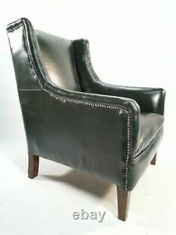 Antique Edwardian Green Leather Restored Armchair / Library Chair