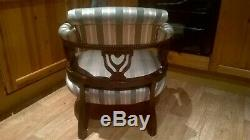 Antique Edwardian Green & Silver Pin stripe Upholstered Tub Chair Armchair