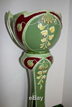 Antique Eichwald Majolica Art Nouveau Jardiniere On Stand Bernard Bloch