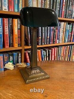 Antique Emeralite Bankers Desk Lamp 8734 B Green Cased Shade Miller B & H