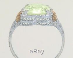 Antique Estate 10K Tri Tone Gold 4.00ct Lime Green Peridot Art Deco Ring A&S