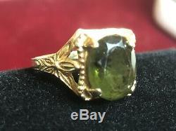 Antique Estate 14k Gold Green Tourmaline Ring Gemstone Art Nouveau Engagement