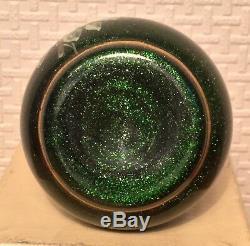 Antique French Art Glass Legras Monte Joye Green Aventurine Enamelled
