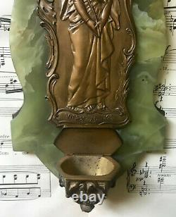 Antique French Art Nouveau Bronze Green Onyx Holy Water Font Virgin Mary c1910