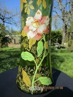 Antique French Art Nouveau Legras Montjoye Glass Green Enameled Vase Dahlia