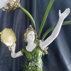 Antique French BRONZE LAMP Auguste Moreau Style Lady Musical 3 Arms PARIS FRANCE