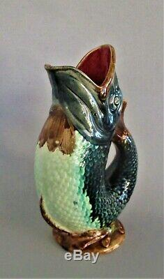 Antique French Majolica Pitcher Vase 19th Century Fish Art