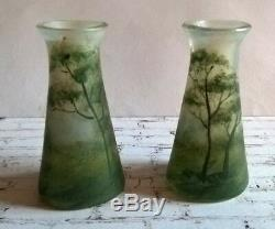 Antique French Pair of Art Glass Miniature Vases 1/8 Green Trees / Doll Scale