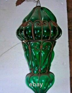 Antique GREEN Art Nouveau HAND BLOWN Ceiling Light Fixture L-1800s-E-1900s 22