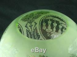 Antique Glass Fully Etched Green Oil Lamp Globe Shade Art Nouveau Fuchia Design