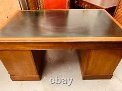 Antique Golden Mahogany Twin Pedestal Desk With Dark Green Leather Top Vintage