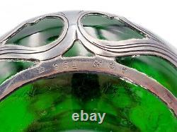 Antique Gorham. 999 Sterling Silver Overlay Emerald Green 4-1/2 Perfume Bottle