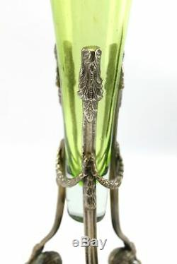 Antique Green Glass Jack in the Pulpit Vase Epergne Ornate Nouveau Garland Stand