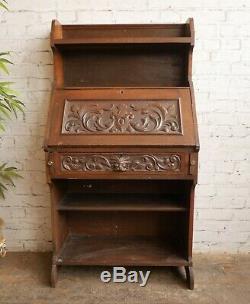 Antique Green Man Oak Student Pigeon Hole Bureau Bookcase Writing Table Desk
