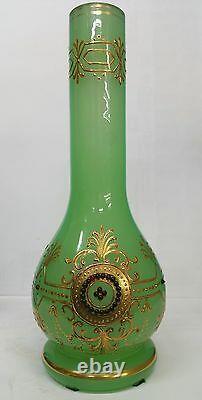 Antique Green Opaline Jewels Vase