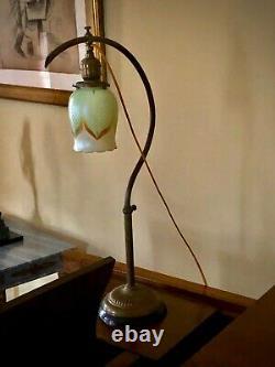 Antique Handel era Piano Desk Lamp Signed Steuben Shade Art Nouveau adj heavy