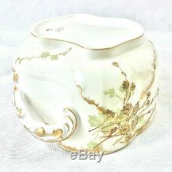 Antique Haviland & Co Art Nouveau Cache Pot Planter Soft Grn Rust Gld Limoge Fra