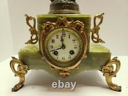 Antique Japy Freres French Victorian Green Marble Figural Statue Mantel Clock