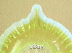 Antique Kralik Vaseline Glass Jack In The Pulpit Footed Vase Opalescent Rim
