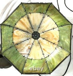 Antique LARGE Green Caramel Bent Slag Glass 16 Panel Lamp Floral Art Nouveau