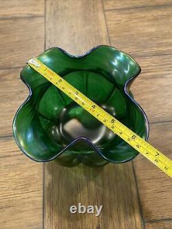 Antique LOETZ ART NOUVEAU Pumpkin Iridescent Pinched & Ruffled BOWL 4.5X6.5