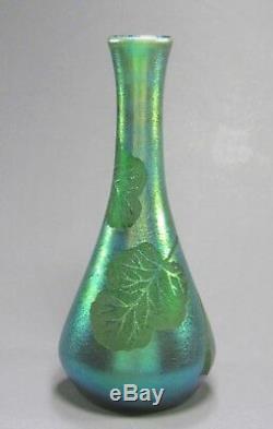 Antique LOETZ Etched Silberiris LEAF DEK Art Glass Vase ca 1903 Rare Decor 9 T