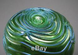 Antique LOETZ Iridescent Art Glass Squat Vase FORMOSA Décor ca 1902 Nice Color