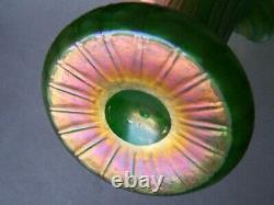 Antique LOETZ KRALIK ART NOUVEAU IRIDESCENT GREEN ART GLASS VASE 8