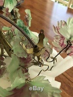 Antique Lamp Murano Venetian Czech Glass Grape Cluster Chandelier. Nouveau