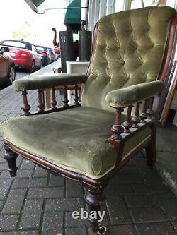 Antique Late Victorian Library Chair in mahogany with green velvet upholstery