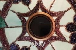 Antique Leaded Glass Lamp Pink Orange Blue Floral 24H X 18W Handel Whaley Era