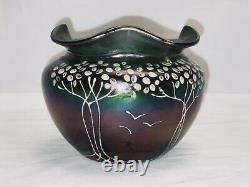 Antique Loetz Art Glass Vase Rare Loetz 1890-1900 Iridescent GREEN PURPLE Gold
