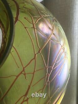 Antique Loetz Bohemian Green Threaded Art Glass Table Lamp Nouveau Brass Base