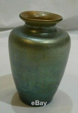 Antique Loetz Iridescent Art Nouveau Petite Art Glass Vase