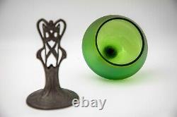 Antique Loetz c. 1905 Jugendstil Art Nou. Iridescent Glass vase Pewter base c. 8