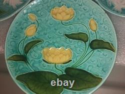 Antique Majolica Plate German Schramberg Majolica Lotus Leaf 1800s Lot Of 4