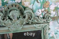 Antique Mirror Art nouveau lady manner turquoize green colour